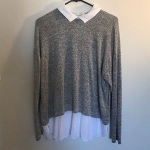 Forever 21 Tops - Grey and White Blouse w Collar Built in